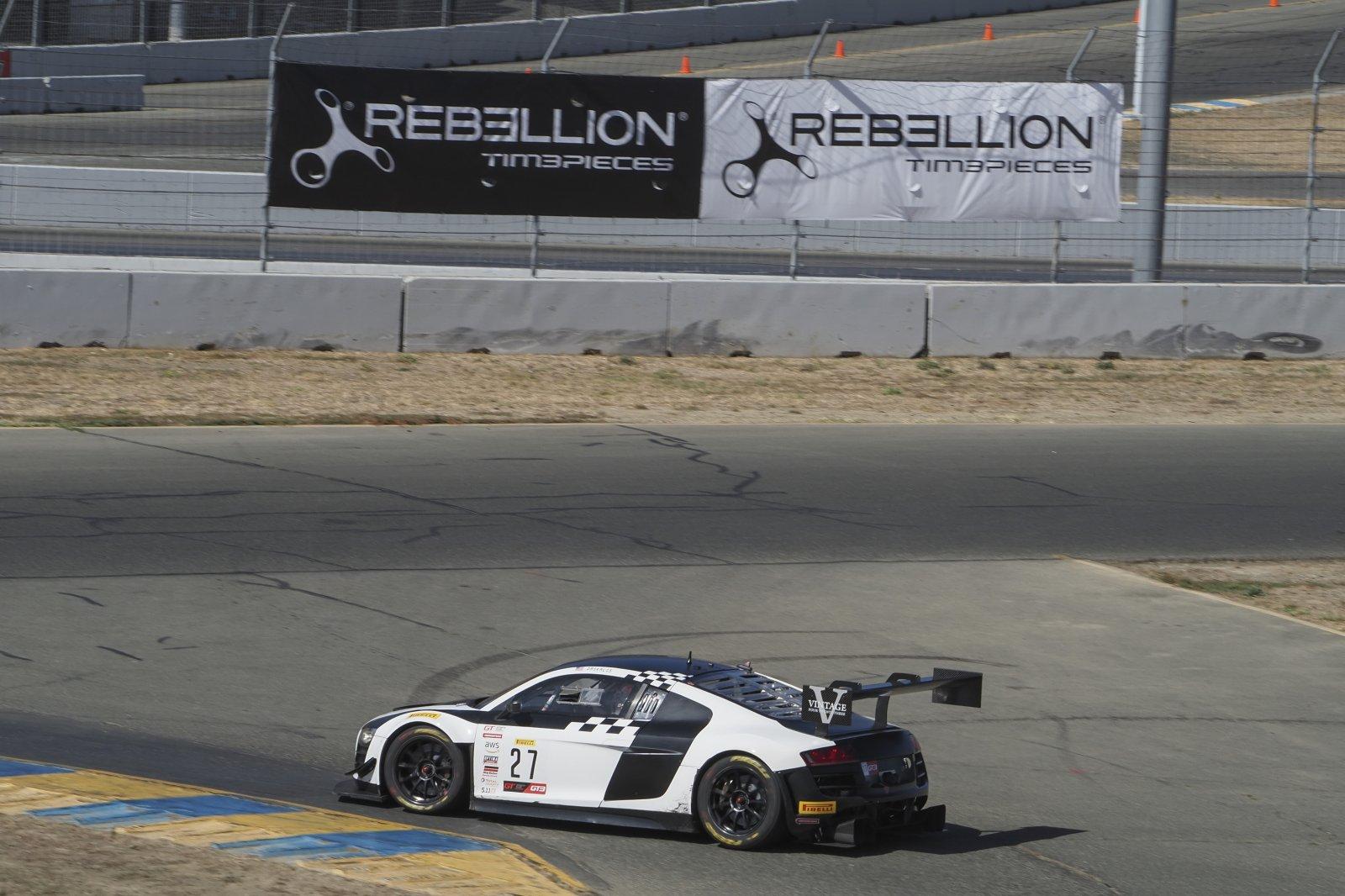 #27 Audi R8 LMS of Jason Daskalos, Daskalos Motorsports, GT Sports Club, SRO America, Sonoma Raceway, Sonoma CA, Aug 2020.