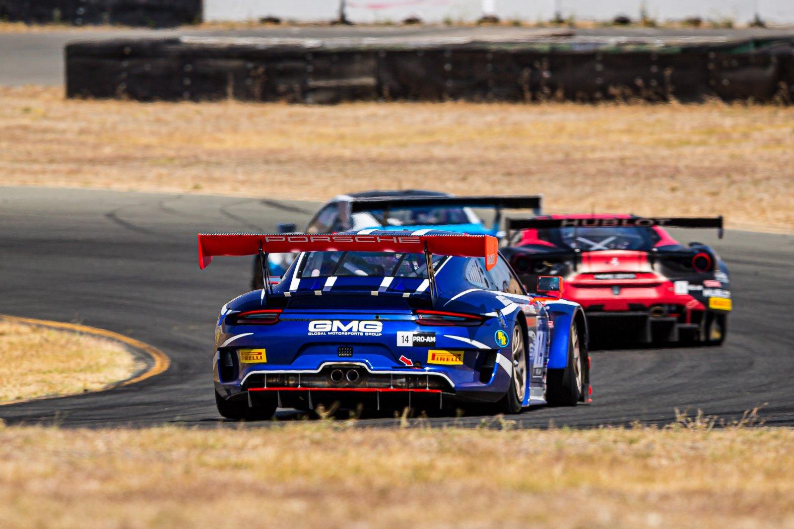 #14 Porsche 911 GT3 of James Sofronas and Jeroen Bleekemolen, GMG Racing, GT3 Pro-Am, 2020 SRO Motorsports Group - Sonoma Raceway, Sonoma CA