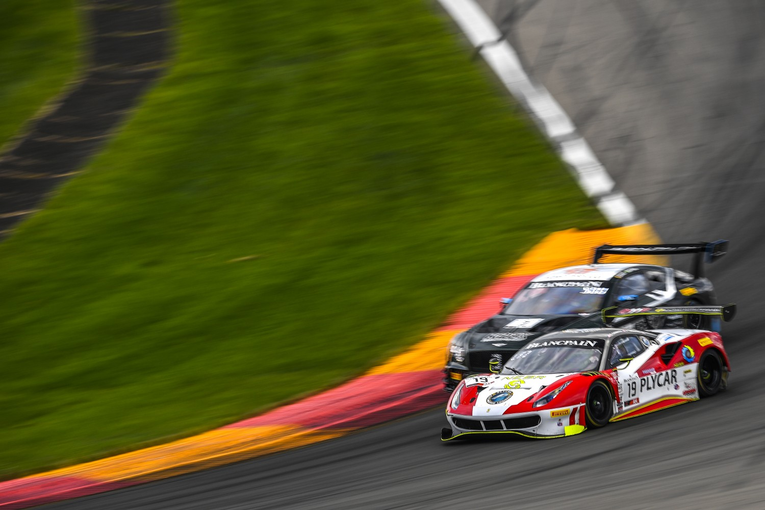 #19 Ferrari 488 GT3 of Christopher Cagnazzi and Anthony Lazzaro with One11 Competition  Watkins Glen World Challenge America , Watkins Glen NY   | Gavin Baker/SRO
