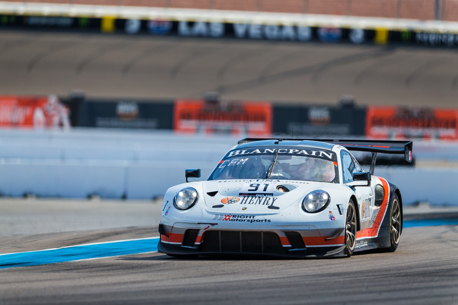#91 Porsche 911 GT3 R (991) of Anthony Imperato and Matt Campbell with Wright Motorsports  2019 Blancpain GT World Challenge America - Las Vegas, Las Vegas NV | Fabian Lagunas/SRO