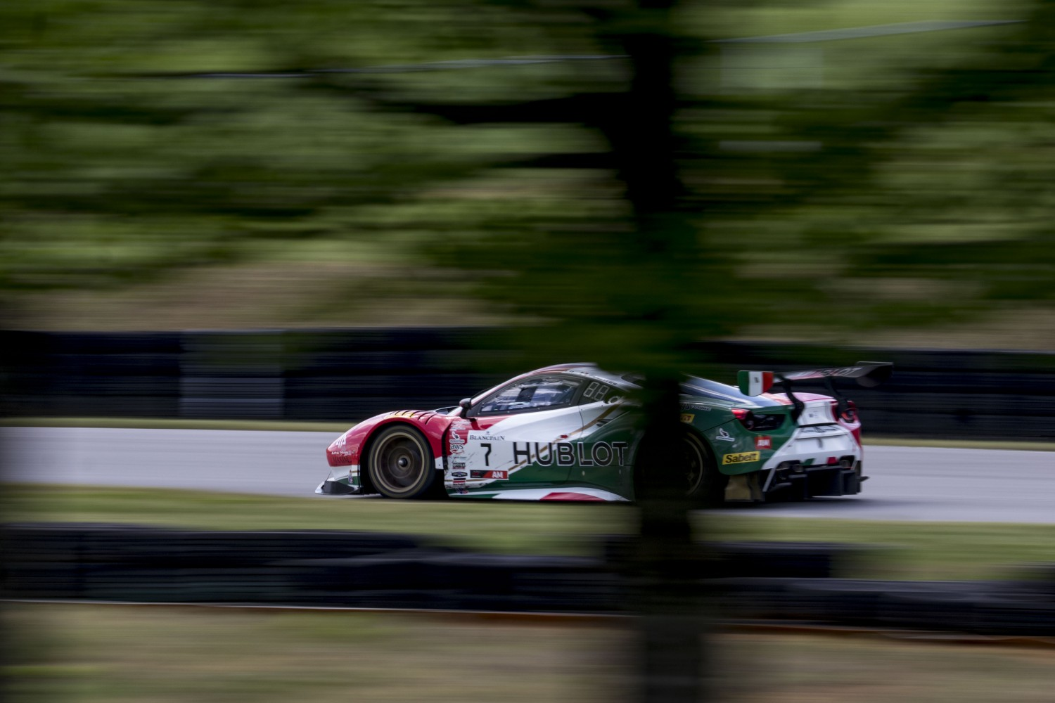 #7, Ferrari 488 GT3, Martin Fuentes and Caeser Bacarella, GT SprintX, VIRginia International Raceway, Alton VA  | Brian Cleary/SRO
