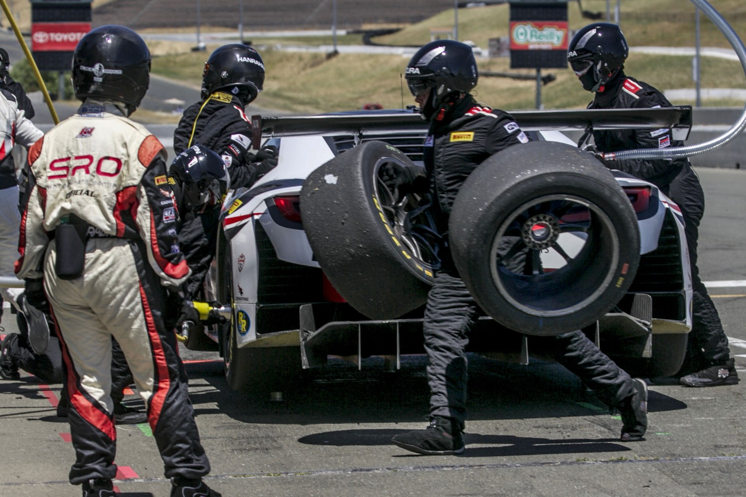 #80, Racers Edge Motorsports, Acura NSX, Martin Barkey and Kyle Marcelli, MBRP, SRO at Sonoma Raceway, Sonoma CA | Brian Cleary/SRO Motorsports Group