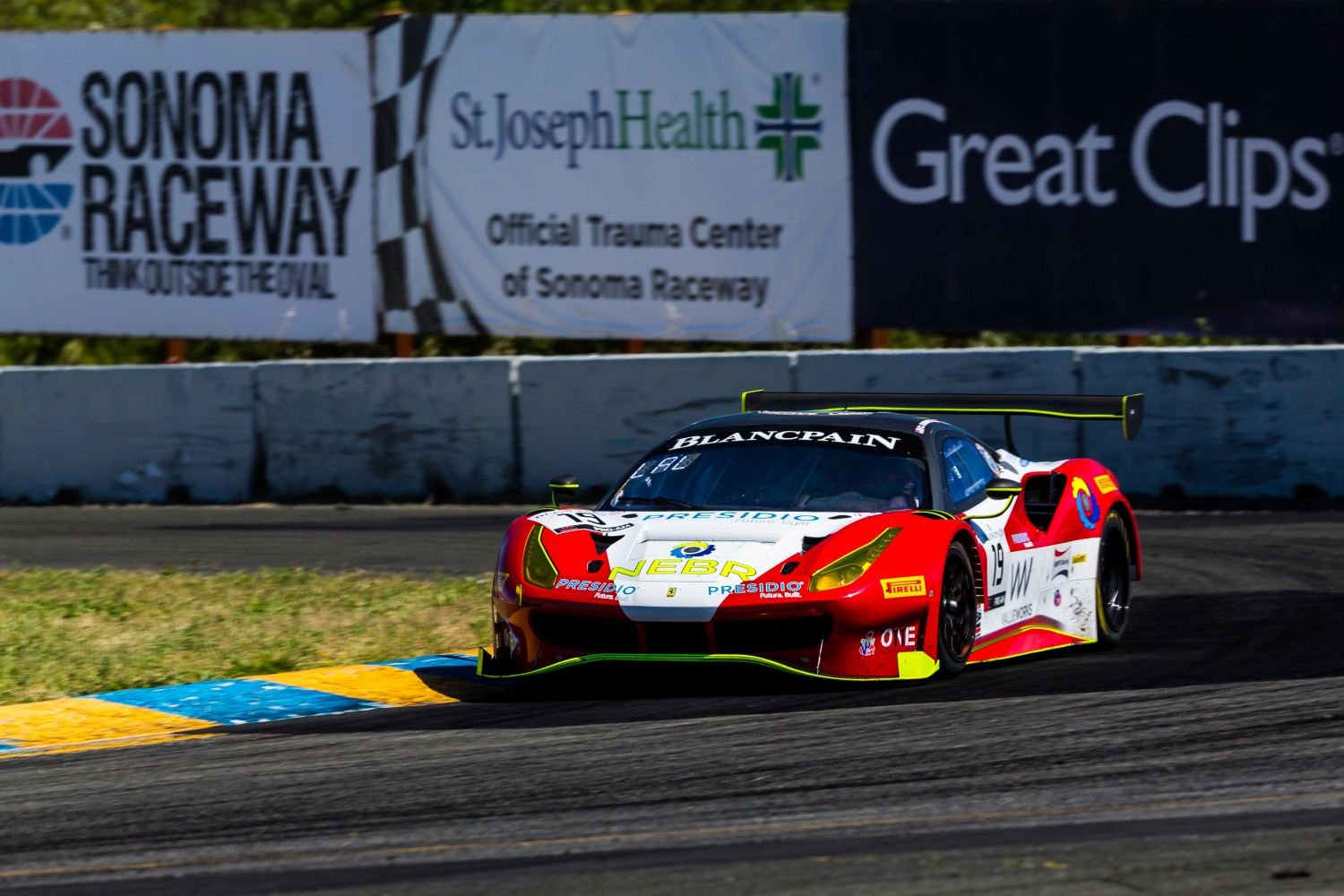 #19 Ferrari 488 GT3 of Christopher Cagnazzi and Andy Lally   SRO at Sonoma Raceway, Sonoma CA | Fabian Lagunas/SRO