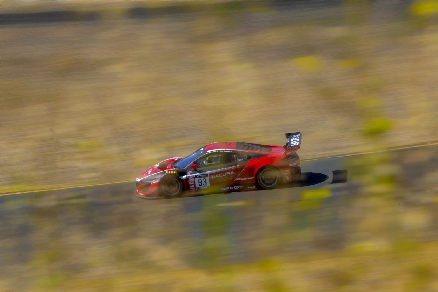 #93 Acura NSX GT3 of Shelby Blackstock and Trent Hindman, Racers Edge Motorsports, GT3 Pro-Am, SRO America, Sonoma Raceway, Sonoma CA, Aug 2020.