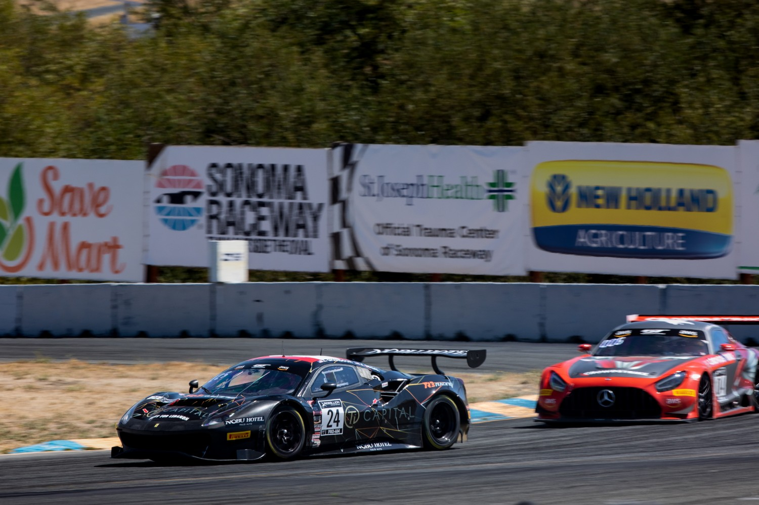 #24 Ferrari 488 GT3 of Ziad Ghondour and Jeff Segal, TR3 Racing, GT3 Pro-Am, SRO America, Sonoma Raceway, Sonoma CA, Aug 2020.  | Regis Lefebure/SRO