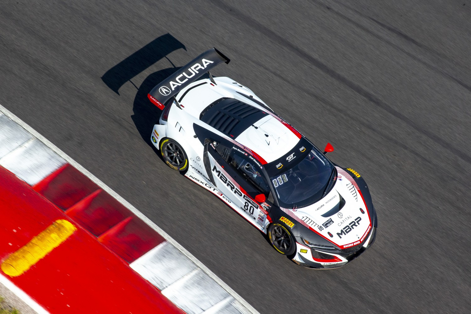 #80 Acura NSX GT3 of Ziad Ghandour and Kyle Marcelli, Racers Edge Motorsports, GT3 Pro-Am, SRO America, Circuit of the Americas, Austin TX, September 2020.  | Brian Cleary/SRO