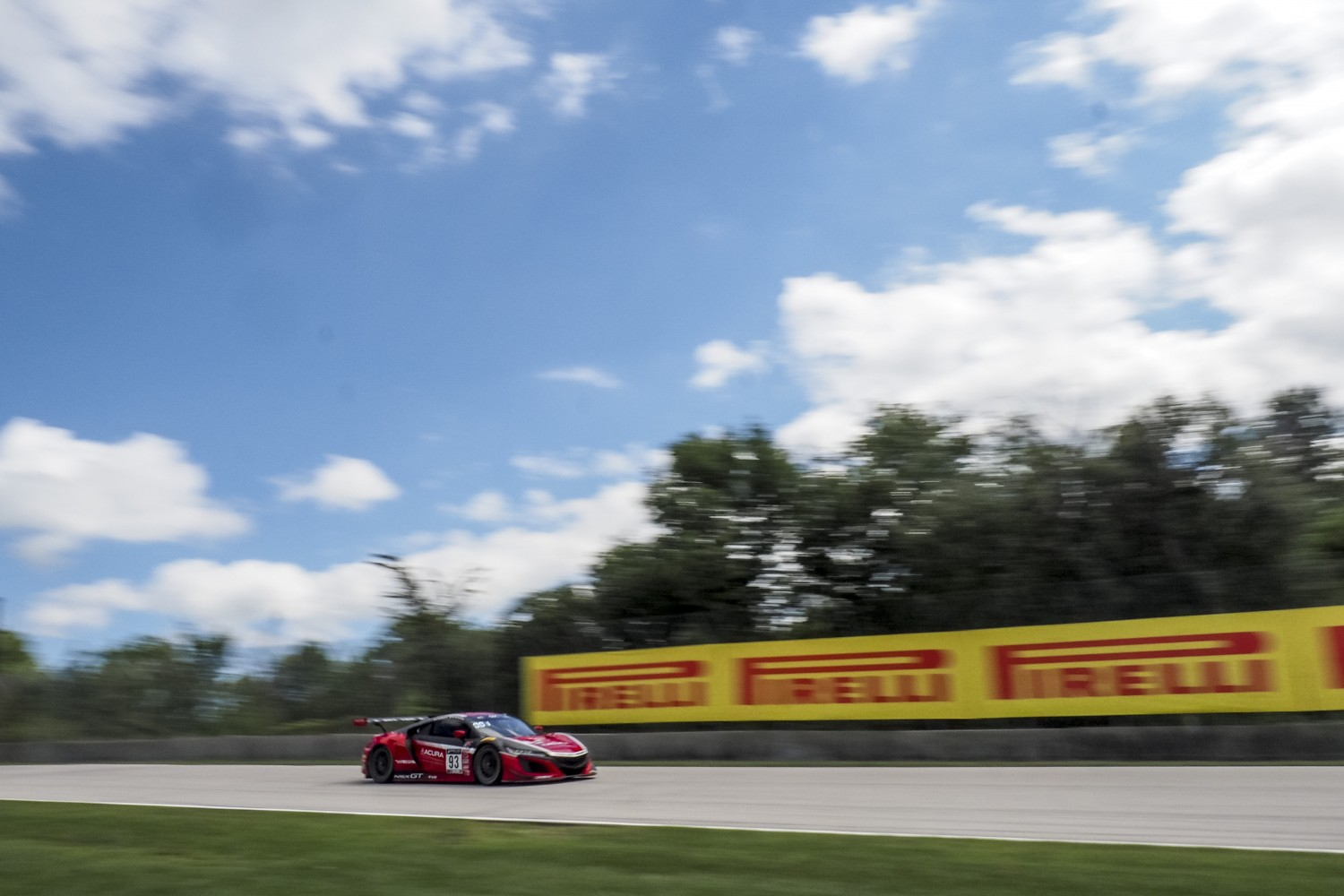 #93 Acura NSX GT3 of Shelby Blackstock and Trent Hindman, Racers Edge Motorsports, GT3 Pro-Am, SRO America, Road America, Elkhart Lake, WI, July 2020.