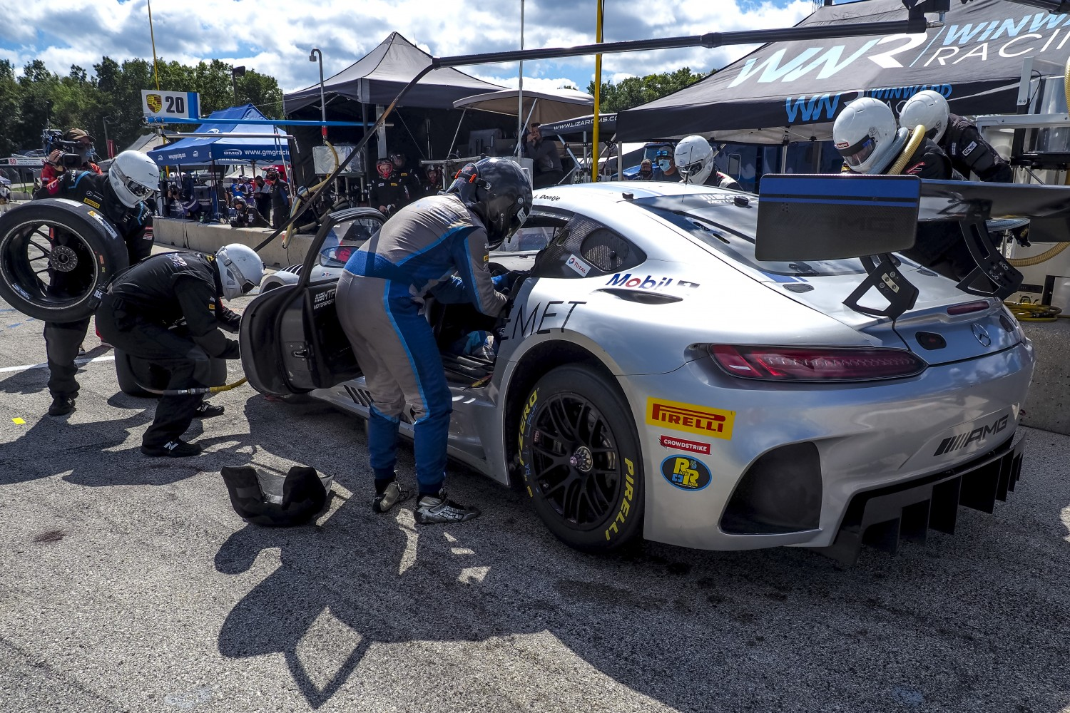 #33 Mercedes-AMG GT3 of Indy Dontje and Russell Ward, Winward Racing, GT3 Pro-Am, SRO America, Road America, Elkhart Lake, WI, July 2020.