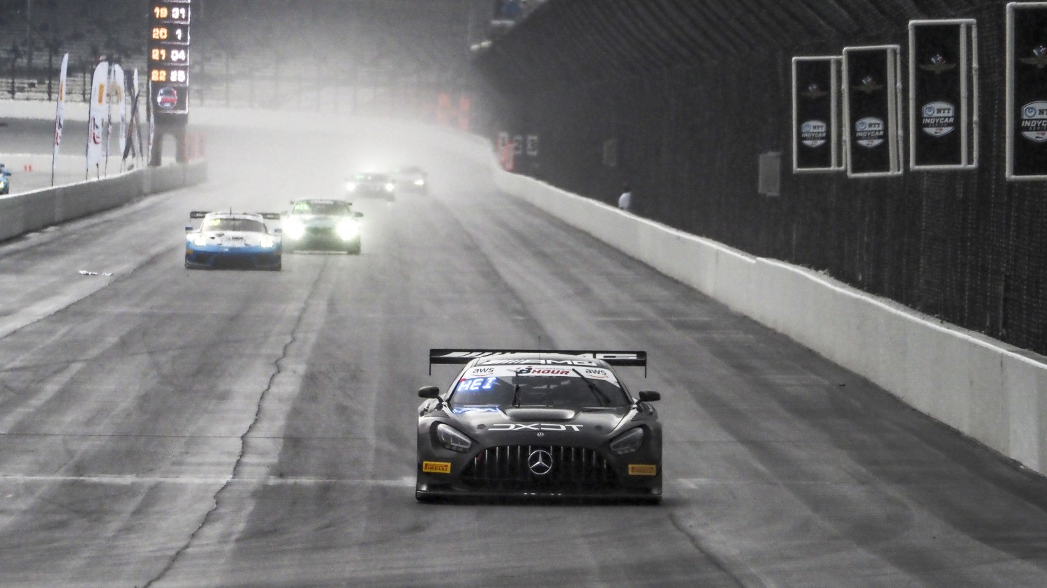 #63 Mercedes AMG GT3 of David Askew, Ryan Dalziel, and Ben Keating, DXDT Racing, GT3 Pro-Am, SRO, Indianapolis Motor Speedway, Indianapolis, IN, September 2020.  | Brian Cleary/SRO