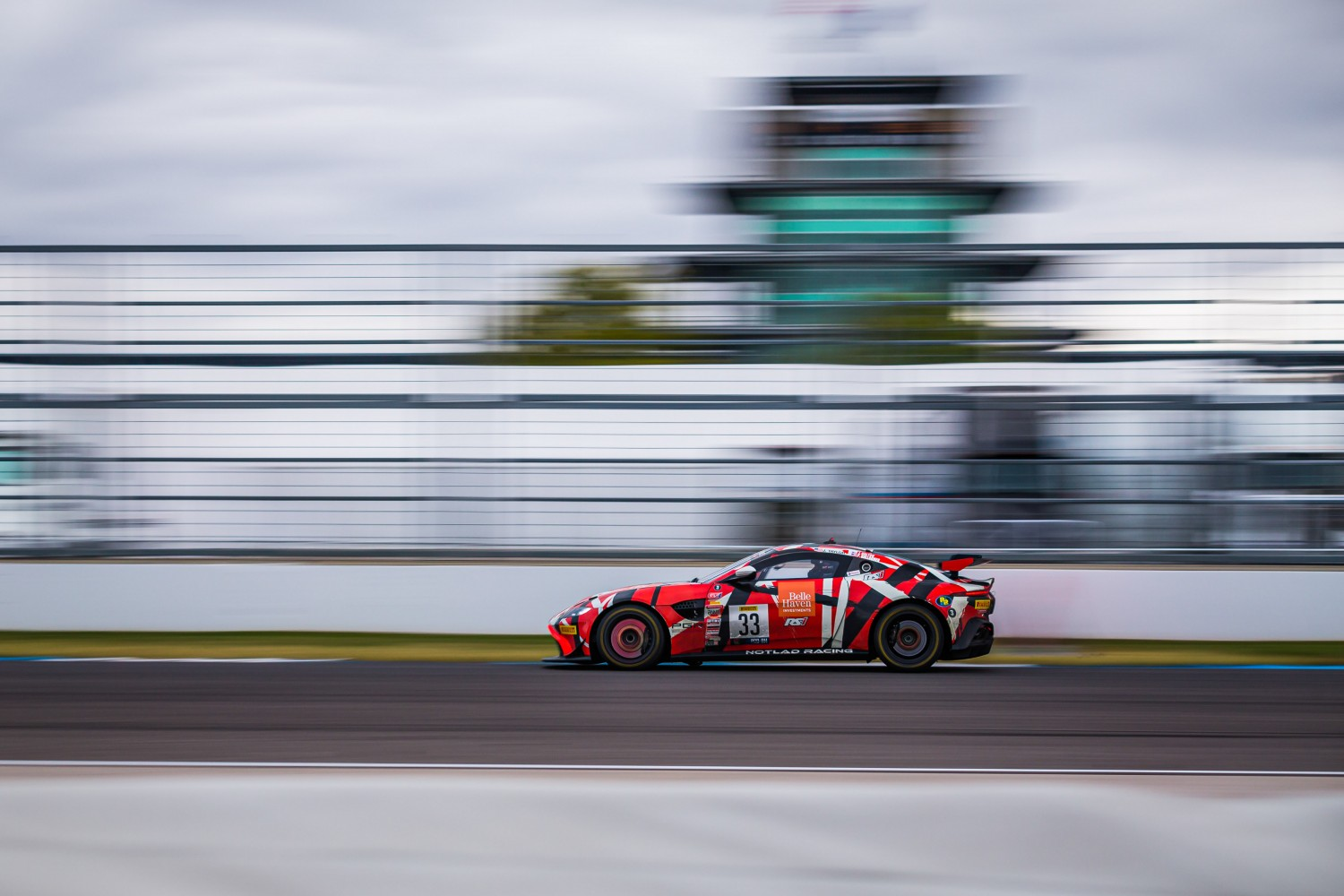 #33 Aston Martin Vantage GT4 of Joe Dalton, Patrick Gallagher, and Jonathan Taylor, Notlad Racing by RS1, GT4, IN, Indianapolis, Indianapolis Motor Speedway, SRO, September 2020.  | Fabian Lagunas/SRO