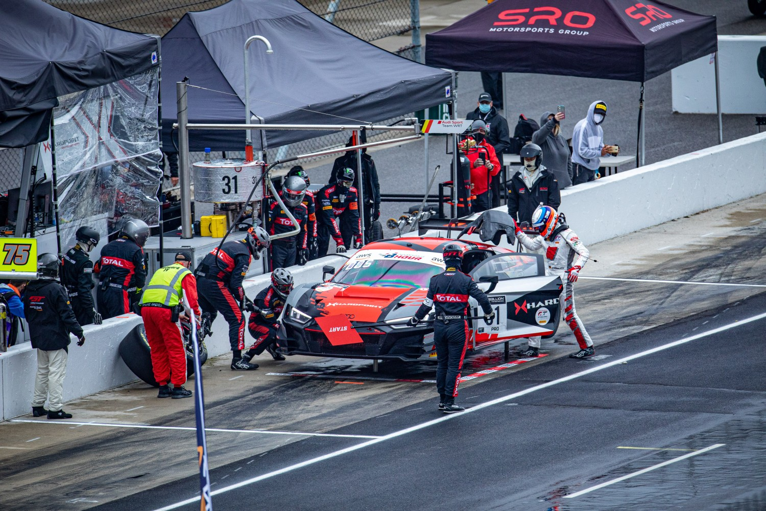#31 Audi R8 LMS GT3 of Mirko Bortolotti, Spencer Pumpelly, and Markus Winkelhock, Audi Sport Team Hardpoint WRT, GT3 Overall, SRO, Indianapolis Motor Speedway, Indianapolis, IN, September 2020.  | Regis Lefebure/SRO
